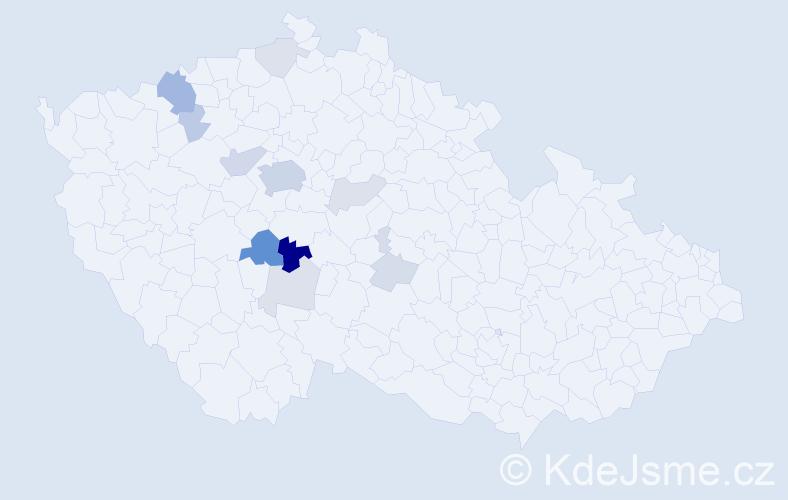 Příjmení: 'Ježil', počet výskytů 35 v celé ČR
