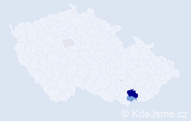 Příjmení: 'Bardún', počet výskytů 5 v celé ČR