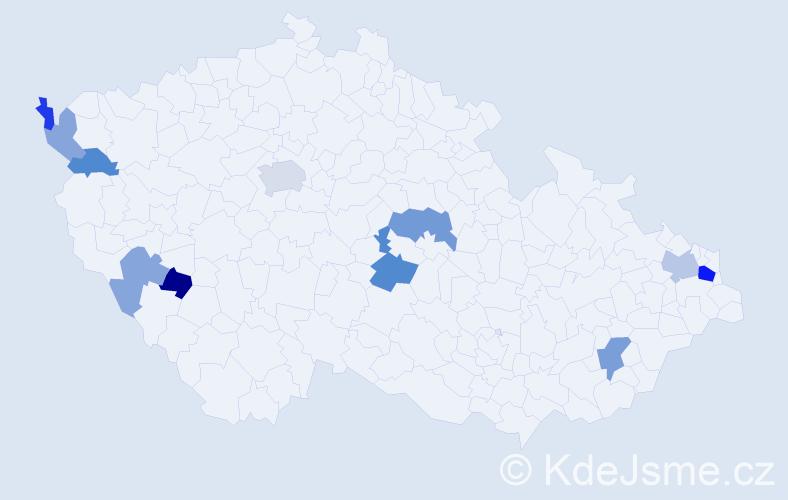 Příjmení: 'Kunor', počet výskytů 21 v celé ČR