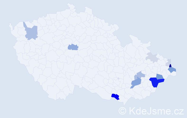 Příjmení: 'Lačíková', počet výskytů 34 v celé ČR