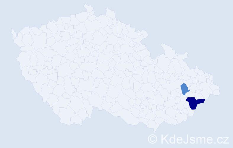 Příjmení: 'Brinček', počet výskytů 5 v celé ČR