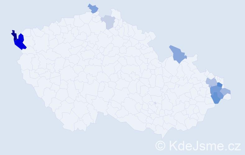 Příjmení: 'Čapandová', počet výskytů 22 v celé ČR