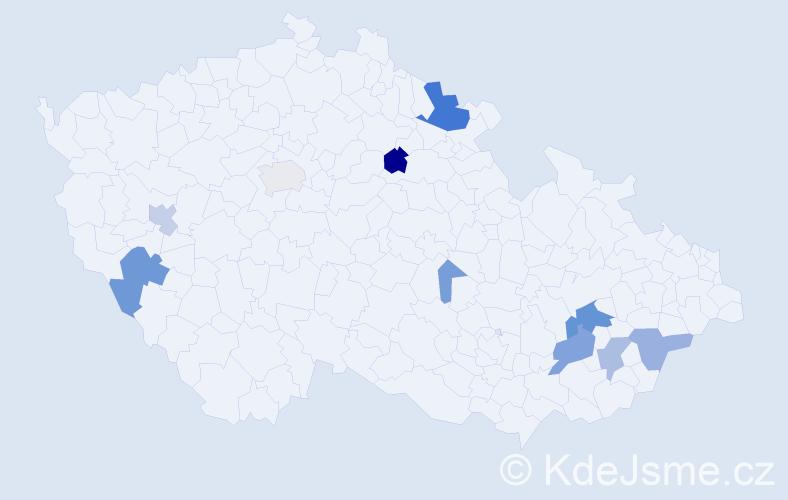 Příjmení: 'Hrbasová', počet výskytů 29 v celé ČR