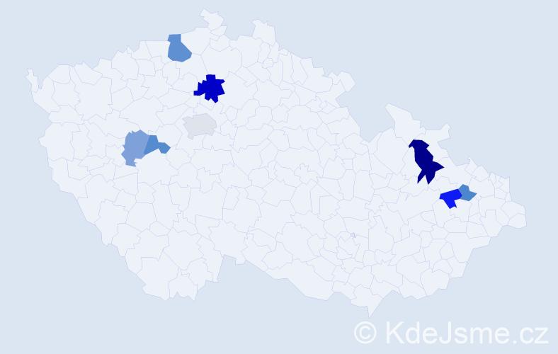 Příjmení: 'Joachymstálová', počet výskytů 15 v celé ČR