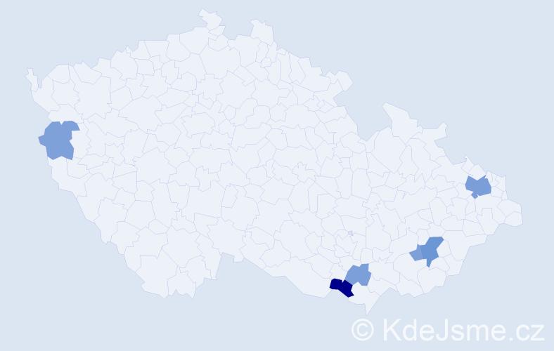 Příjmení: 'Klíš', počet výskytů 14 v celé ČR