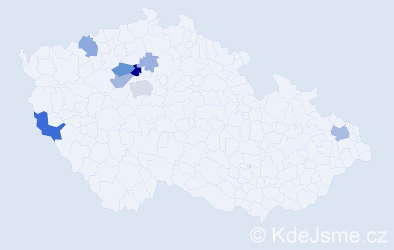 Příjmení: 'Judáková', počet výskytů 23 v celé ČR