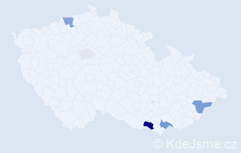 Příjmení: 'Dammová', počet výskytů 10 v celé ČR