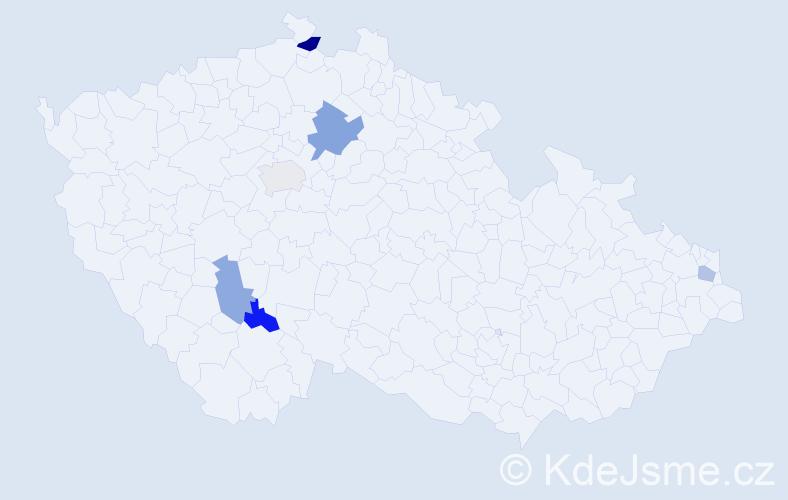 Příjmení: 'Báček', počet výskytů 8 v celé ČR