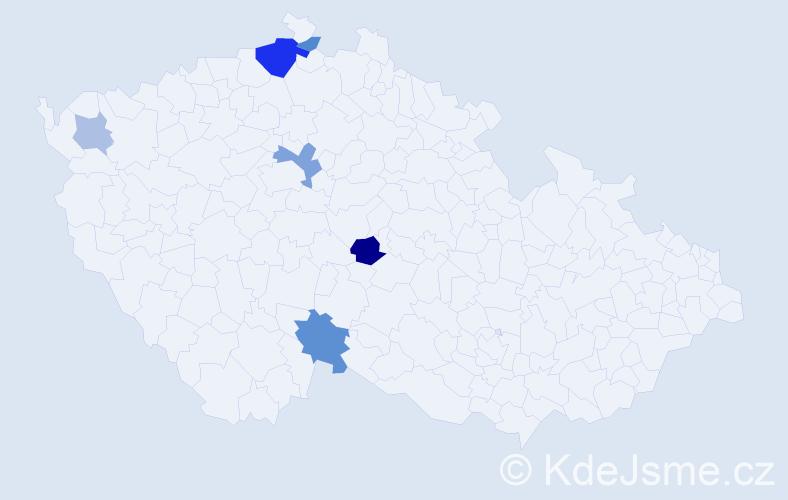 Příjmení: 'Fiegerová', počet výskytů 13 v celé ČR