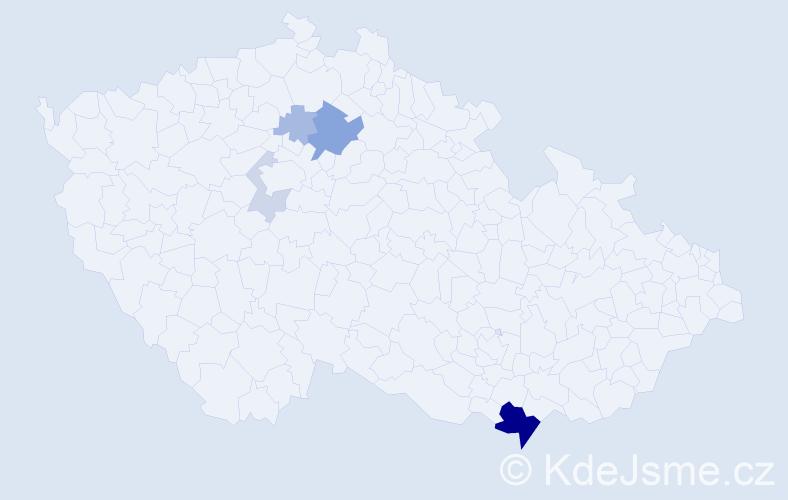 Příjmení: 'Čerešnová', počet výskytů 14 v celé ČR