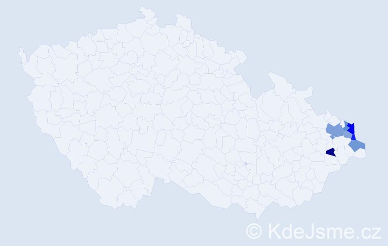 Příjmení: 'Balvarová', počet výskytů 11 v celé ČR