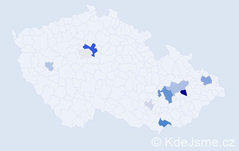 Příjmení: 'Kobedová', počet výskytů 15 v celé ČR