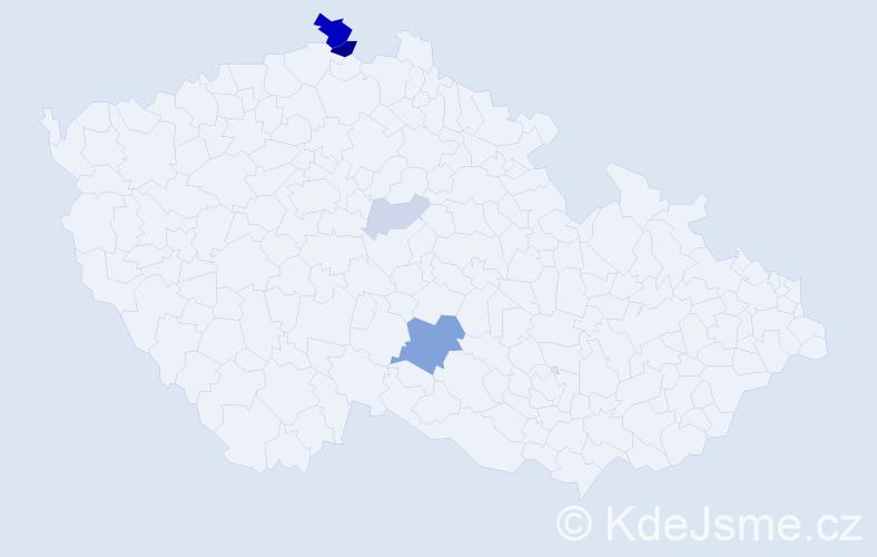 Příjmení: 'Garža', počet výskytů 15 v celé ČR