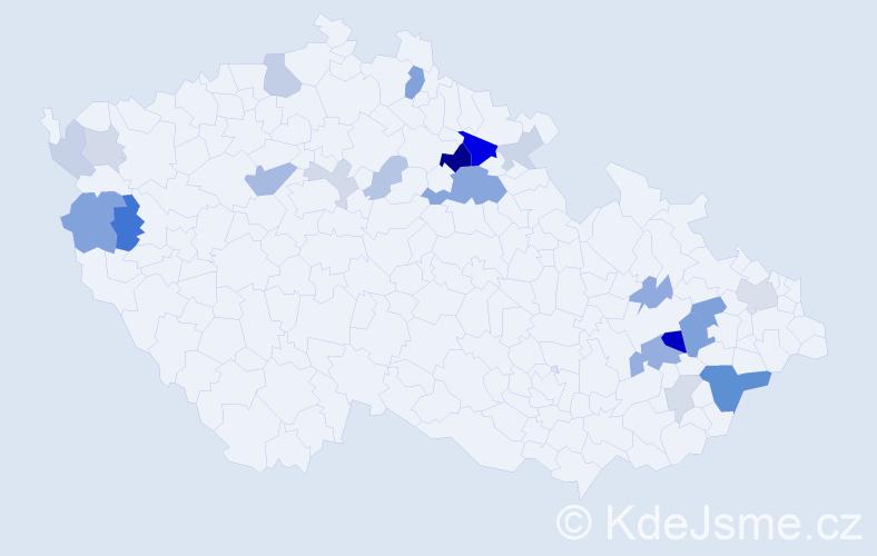 Příjmení: 'Gaberová', počet výskytů 50 v celé ČR