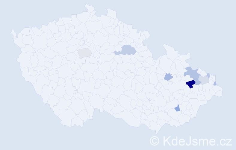 Příjmení: 'Egyedová', počet výskytů 25 v celé ČR