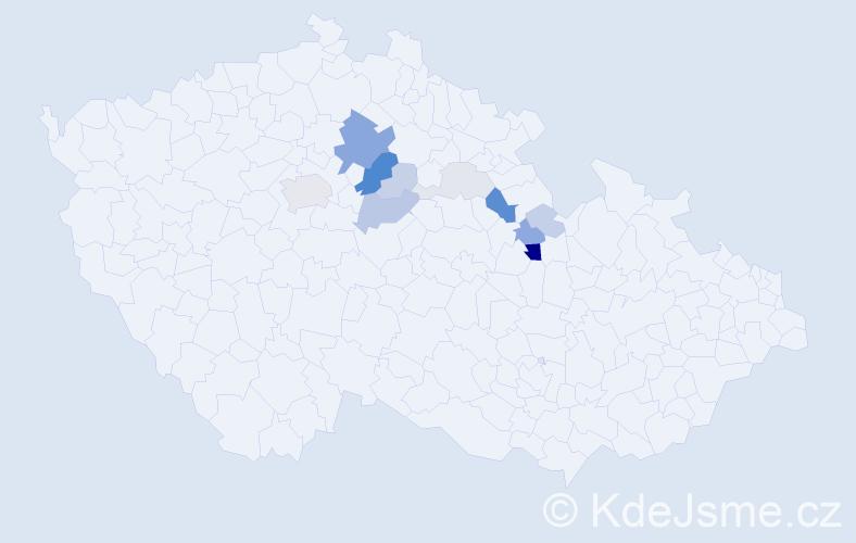 Příjmení: 'Cindrová', počet výskytů 38 v celé ČR