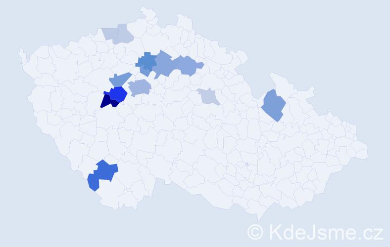 Příjmení: 'Kůna', počet výskytů 35 v celé ČR