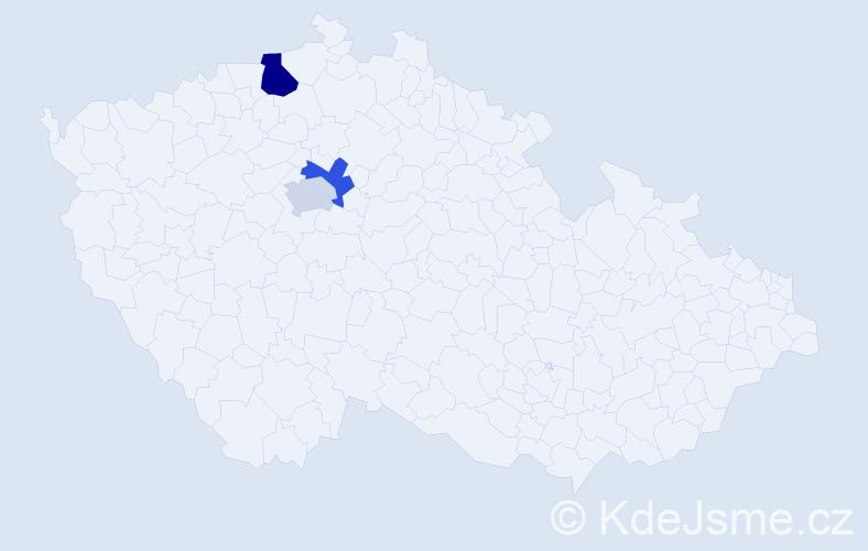 Příjmení: 'Danělko', počet výskytů 4 v celé ČR