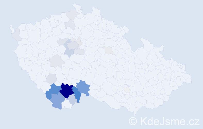 Příjmení: 'Klabouchová', počet výskytů 120 v celé ČR