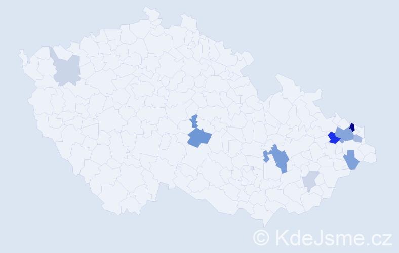 Příjmení: 'Honkyš', počet výskytů 28 v celé ČR