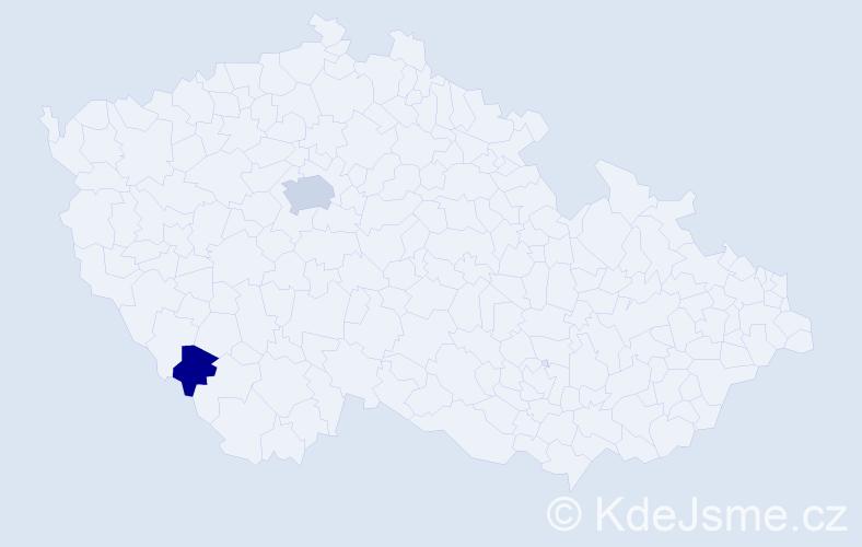 Příjmení: 'Haitingr', počet výskytů 4 v celé ČR