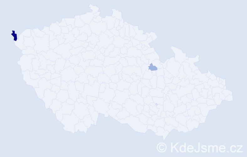 Příjmení: 'Dolog', počet výskytů 10 v celé ČR