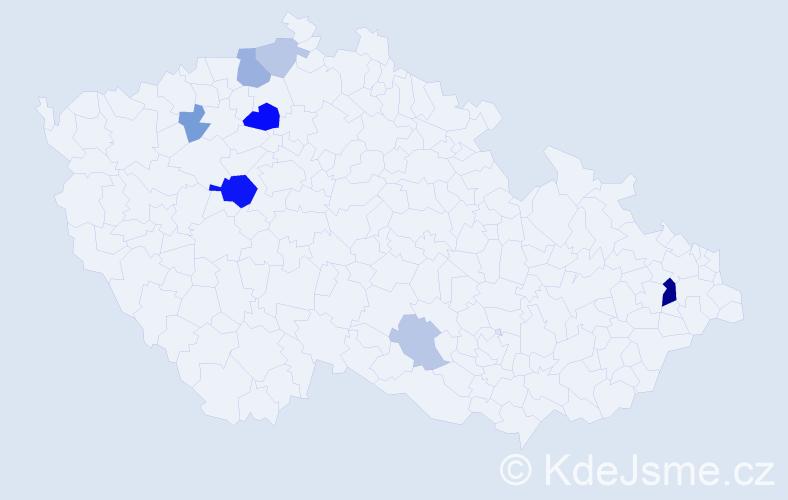 Příjmení: 'Čupori', počet výskytů 18 v celé ČR