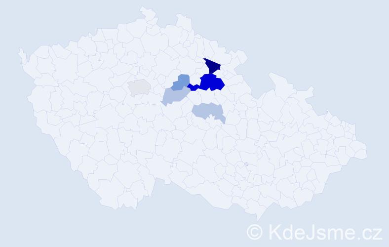 Příjmení: 'Jušta', počet výskytů 18 v celé ČR