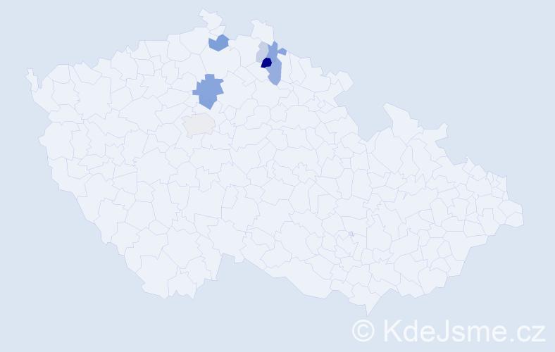Příjmení: 'Čásárová', počet výskytů 24 v celé ČR