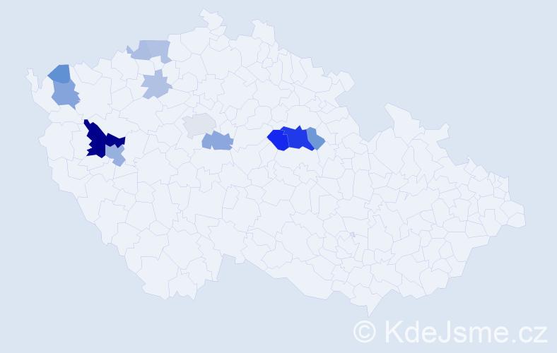 Příjmení: 'Kušička', počet výskytů 42 v celé ČR