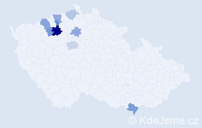 Příjmení: 'Čáda', počet výskytů 21 v celé ČR