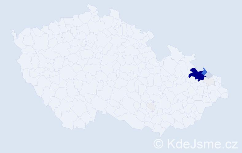 Příjmení: 'Hřivňacká', počet výskytů 35 v celé ČR