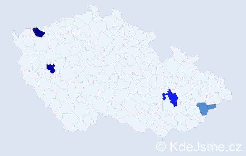 Příjmení: 'Čentéšová', počet výskytů 8 v celé ČR