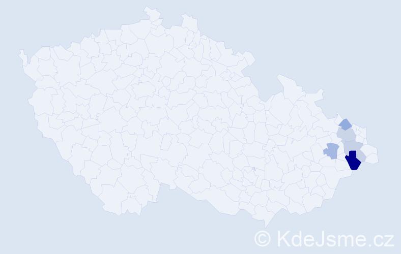 Příjmení: 'Hikel', počet výskytů 8 v celé ČR