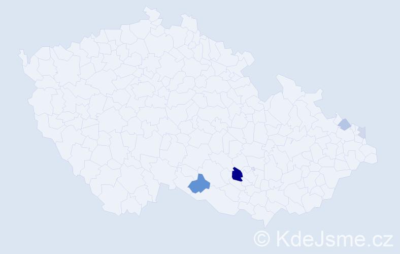 Příjmení: 'Klušák', počet výskytů 9 v celé ČR