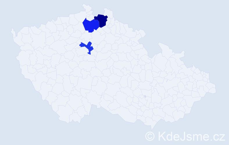 Příjmení: 'Dozorcová', počet výskytů 16 v celé ČR