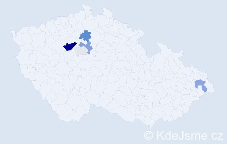 Příjmení: 'Fiman', počet výskytů 9 v celé ČR