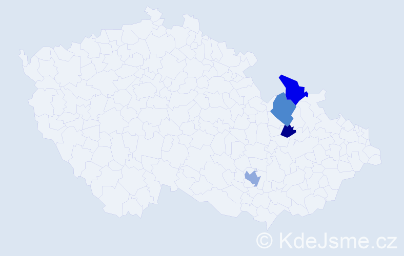 Příjmení: 'Číka', počet výskytů 12 v celé ČR