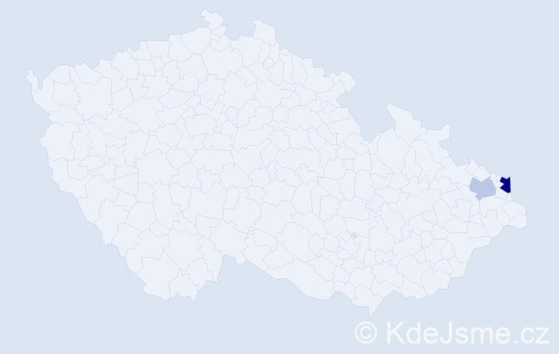 Příjmení: 'Javínová', počet výskytů 4 v celé ČR