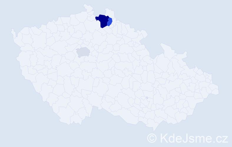 Příjmení: 'Franceschi', počet výskytů 5 v celé ČR