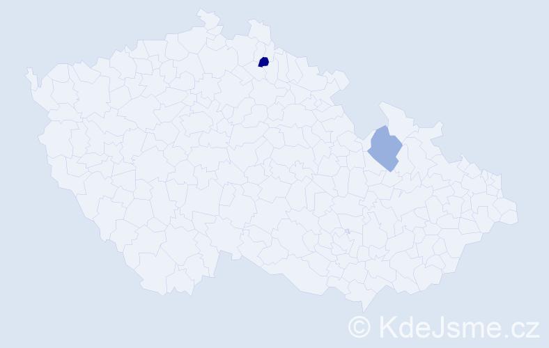 Příjmení: 'Geiglová', počet výskytů 2 v celé ČR