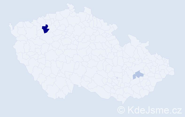 Příjmení: 'Děrková', počet výskytů 4 v celé ČR