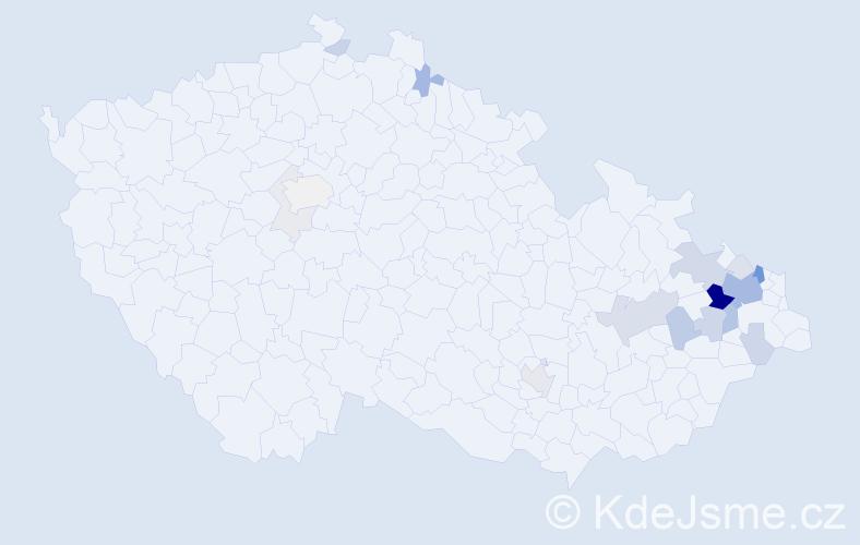 Příjmení: 'Bajnar', počet výskytů 62 v celé ČR