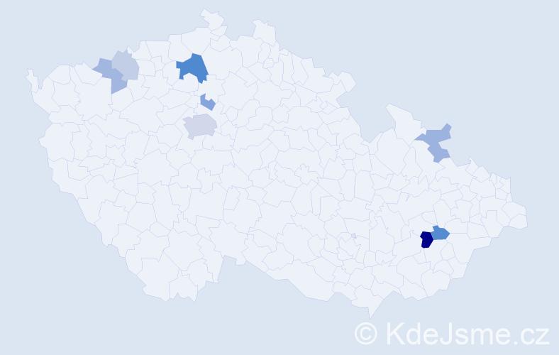 Příjmení: 'Hafincová', počet výskytů 18 v celé ČR