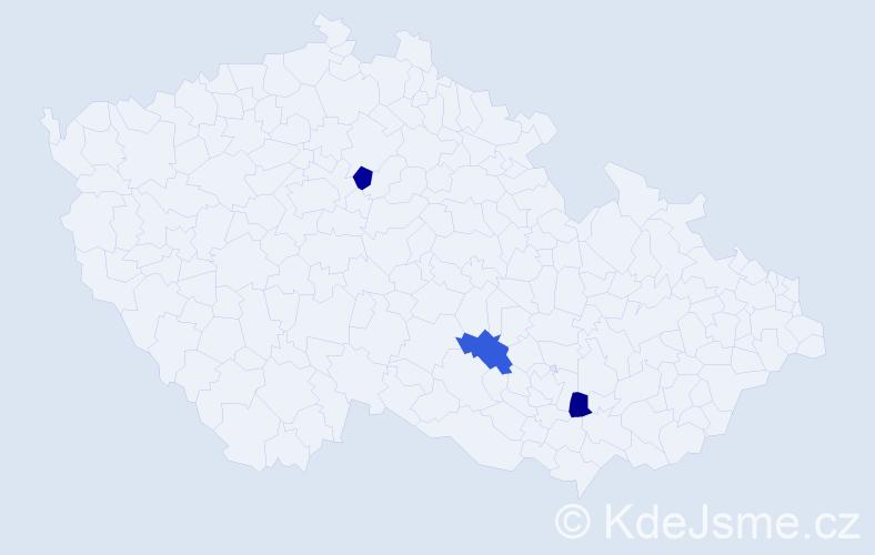 Příjmení: 'Dúpalová', počet výskytů 3 v celé ČR