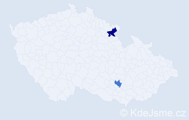 Příjmení: 'Hansch', počet výskytů 3 v celé ČR