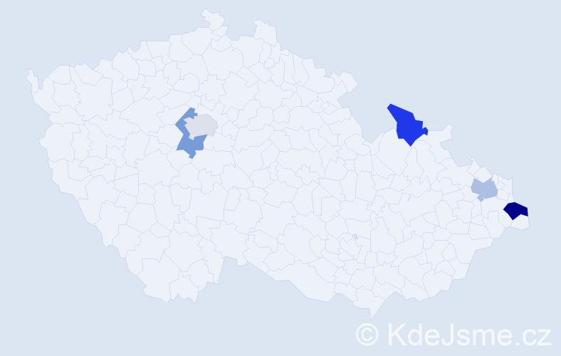 Příjmení: 'Jordanidu', počet výskytů 6 v celé ČR