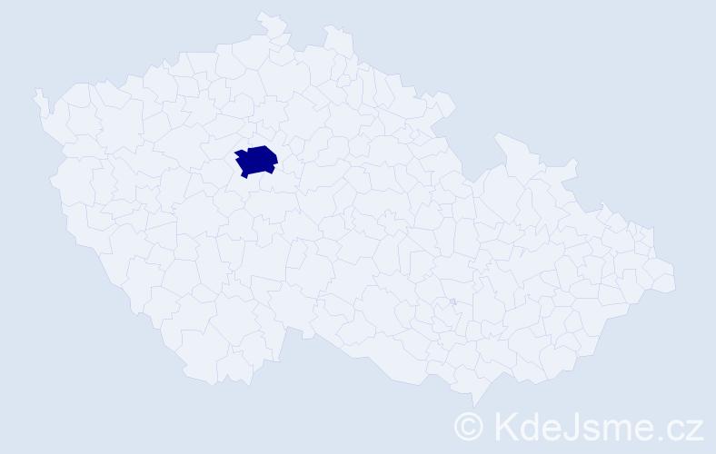 """Příjmení: '""""Česáková Hyklová""""', počet výskytů 1 v celé ČR"""