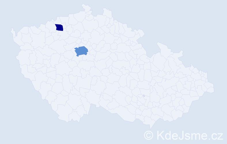 Příjmení: 'Barník', počet výskytů 5 v celé ČR