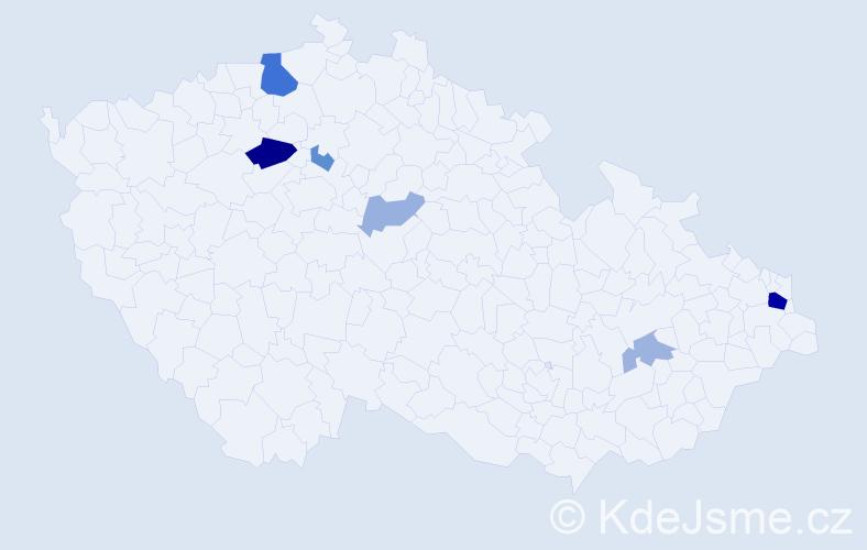 Příjmení: 'Kála', počet výskytů 16 v celé ČR